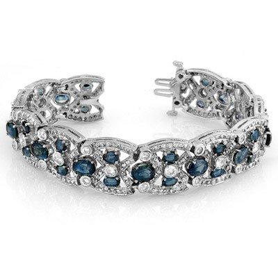 Genuine 33.0 ctw Blue Sapphire & Diamond Bracelet Gold