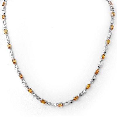 Genuine 9.02 ctw Orange Sapphire & Diamond Necklace 10K
