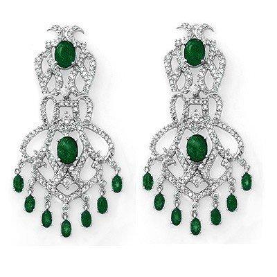 Genuine 17.3 ctw Emerald & Diamond Earrings White Gold