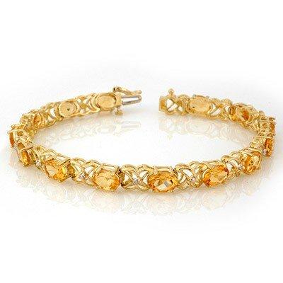 Genuine 10.65 ctw Citrine & Diamond Bracelet Yellow Gol