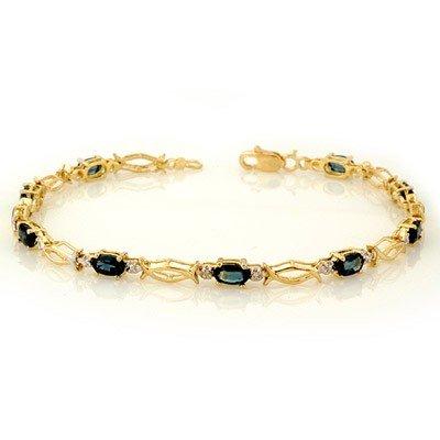 Genuine 3.25 ctw Blue Sapphire Bracelet 10K Yellow Gold
