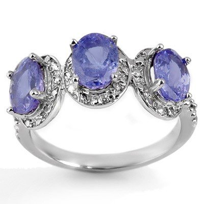 Genuine 3.08ctw Tanzanite & Diamond Ring 10K White Gold
