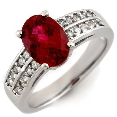 Genuine 2.50ctw Rubellite & Diamond Ring 14K White Gold