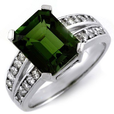 Genuine 4.47ct Green Tourmaline & Diamond Ring 10K Gold