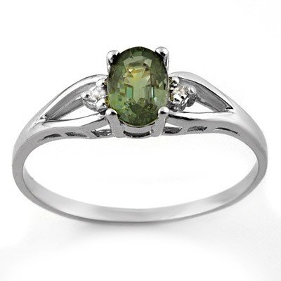 Genuine 0.77 ctw Green Tourmaline & Diamond Ring Gold
