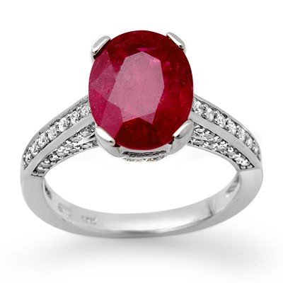 Genuine 2.80 ctw Ruby & Diamond Ring 14K White Gold