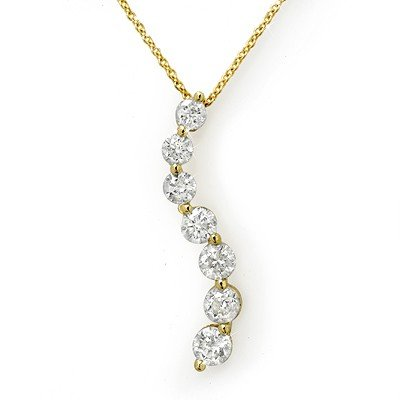 Natural 1.0 ctw Diamond Necklace 14K Yellow Gold