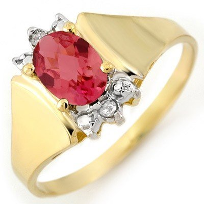 Genuine 1.04 ctw Pink Tourmaline & Diamond Ring Gold