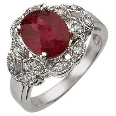 Genuine 3.25ctw Rubellite & Diamond Ring 10K White Gold