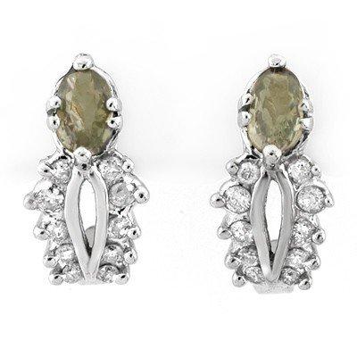 Genuine 0.95 ctw Green Sapphire & Diamond Earrings Gold