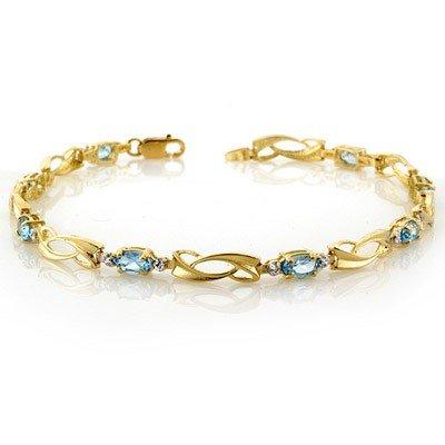 Genuine 2.02 ctw Blue Topaz & Diamond Bracelet 10K Gold