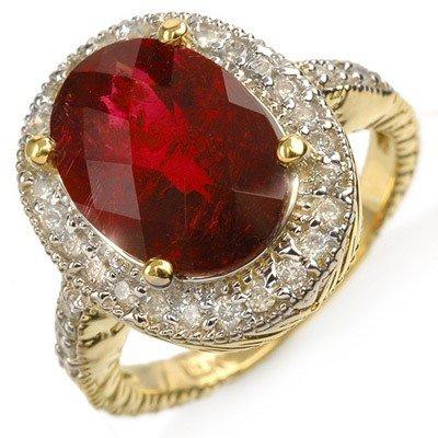Genuine 5.50ct Rubellite & Diamond Ring 14K Yellow Gold