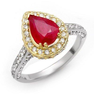 Genuine 3.1 ctw Ruby & Diamond Ring 14K Multi tone Gold