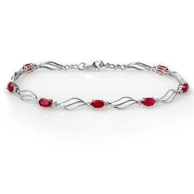 Genuine 3.02 ctw Ruby & Diamond Bracelet White Gold