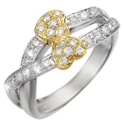 Natural 0.40 ctw Diamond Ring 10K Multi tone Gold
