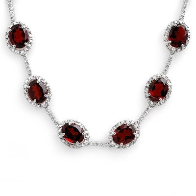 Genuine 41.0 ctw Garnet & Diamond Necklace White Gold