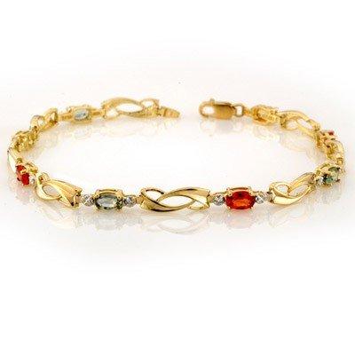 Genuine 2.62 ctw Multi-Sapphire & Diamond Bracelet Gold