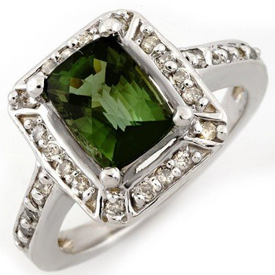 Genuine 2.40ct Green Tourmaline & Diamond Ring 14K Gold