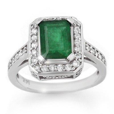 Genuine 2.0 ctw Emerald & Diamond Ring 14K White Gold