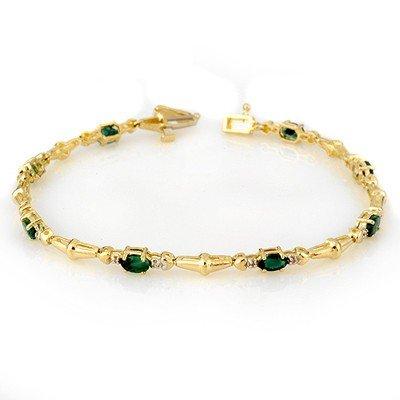 Genuine 2.75 ctw Emerald & Diamond Bracelet Yellow Gold