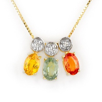 Genuine 2.03 ctw Multi-Sapphire & Diamond Necklace Gold