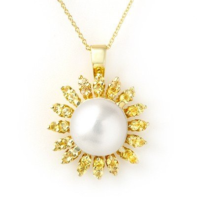 Genuine 1.50 ctw Yellow Sapphire & Pearl Necklace Gold