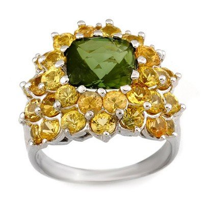 Genuine 9.0 ctw Green Tourmaline & Yellow Sapphire Ring
