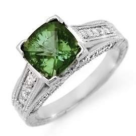 Genuine 3.0ctw Green Tourmaline & Diamond Ring 14K Gold