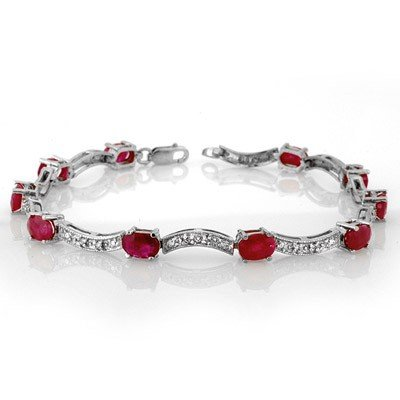 Genuine 4.25 ctw Ruby & Diamond Bracelet White Gold