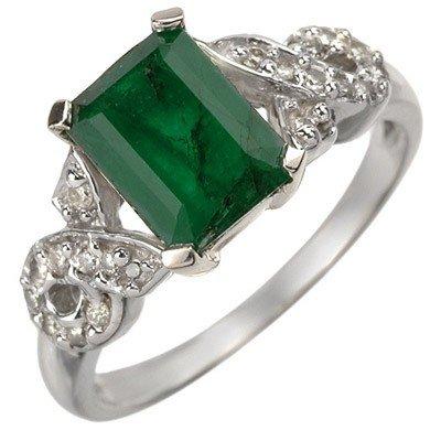 Genuine 2.25 ctw Emerald & Diamond Ring 10K White Gold
