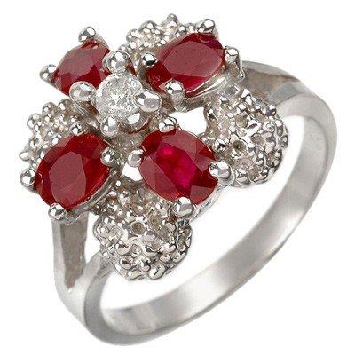 Genuine 1.58 ctw Ruby & Diamond Ring 10K White Gold