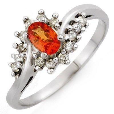 Orange Sapphire & Diamond 0.55 ctw Ring 10K White Gold
