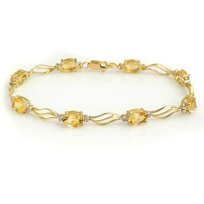 Genuine 6.02 ctw Citrine & Diamond Bracelet Yellow Gold