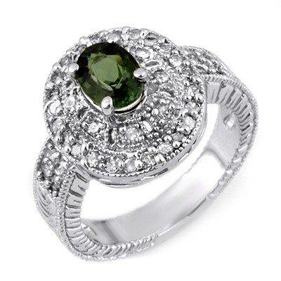 Genuine 1.73ctw Green Tourmaline & Diamond Ring Gold