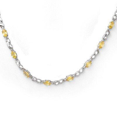 Genuine 9.02 ctw Yellow Sapphire & Diamond Necklace 10K