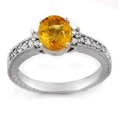 Genuine 2.42 ctw Yellow Sapphire & Diamond Ring 14K Whi