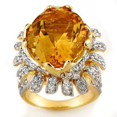 Genuine 15.75 ctw Citrine & Diamond Ring 14K Yellow Gol