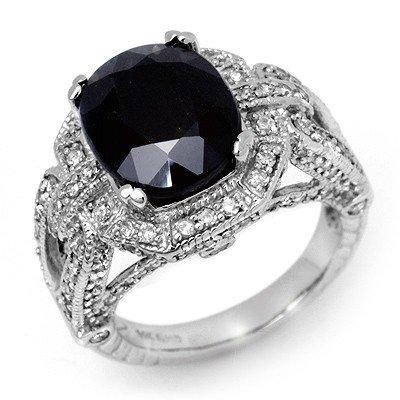 Genuine 8.50 ctw Sapphire & Diamond Ring 14K White Gold