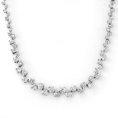 Natural 10.0 ctw Diamond Necklace 14K White Gold