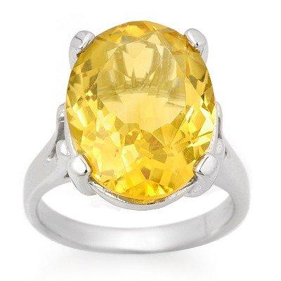 Genuine 10.0 ctw Citrine Ring 10K White Gold