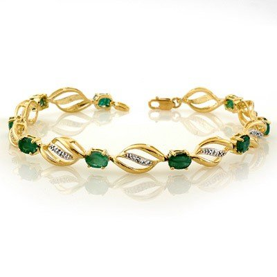 Genuine 5.10 ctw Emerald & Diamond Bracelet Yellow Gold