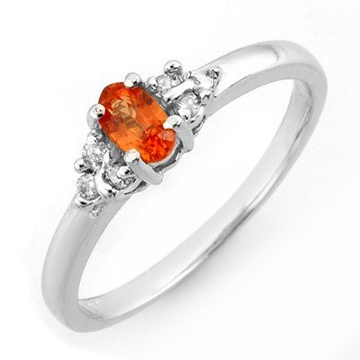 Genuine 0.44 ctw Orange Sapphire & Diamond Ring Gold