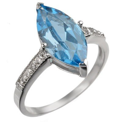 Genuine 3.6 ctw Blue Topaz & Diamond Ring 10K Gold