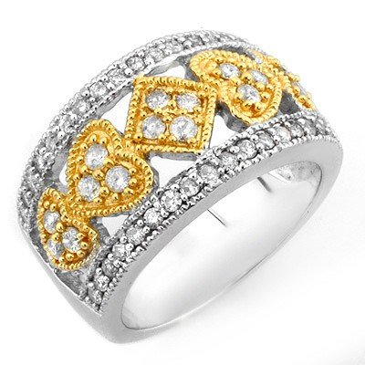 Natural 1.0 ctw Diamond Ring 10K Multi tone Gold