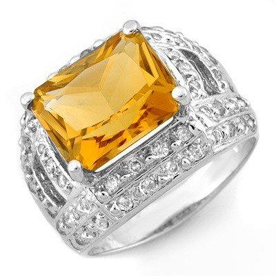 Genuine 5.0 ctw Citrine & Diamond Ring 14K White Gold