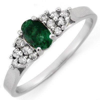 Genuine 0.50 ctw Emerald & Diamond Ring 10K White Gold