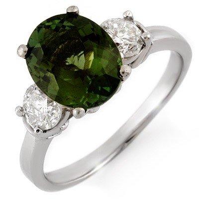 Genuine 3.25 ctw Green Tourmaline & Diamond Ring Gold