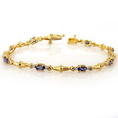 Genuine 2.75 ctw Tanzanite & Diamond Bracelet 10K Gold