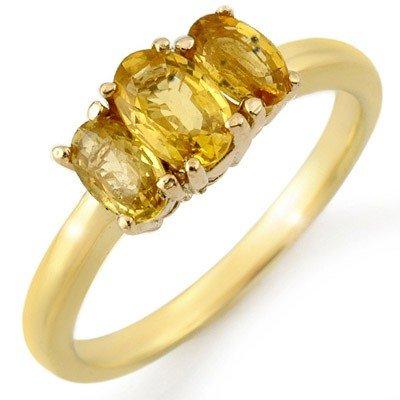 Genuine 1.18 ctw Yellow Sapphire Ring 10K Yellow Gold