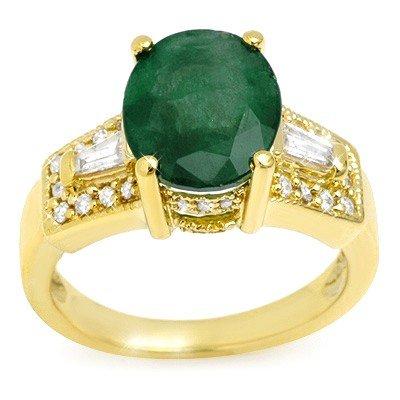 Genuine 4.55 ctw Emerald & Diamond Ring 10K Yellow Gold